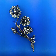 UNIQUE Victorian French 15 Carats Diamond Flower En Tremblant Brooch Gold Silver