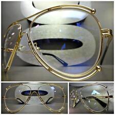 Herren Damen Klassisch Vintage Retro Stil Klar Gläser Brillen Gold Mode Gestell