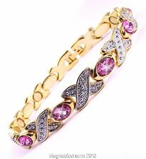 LADIES BIO MAGNETIC HEALING BRACELET FOR ARTHRITIS PINK COLOUR STONE