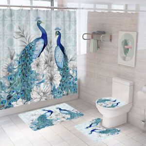 Peacock Shower Curtain Bathroom Rug Set Thick Bath Mat Non-Slip Toilet Lid Cover