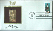 Lighthouses American Shoals, Florida FDC 22kt Gold Replica Stamp #170