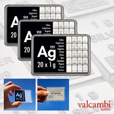 3 x 20 Gramm 999 AG Silber Silbertafeln Silberbarren CombiBar ESG Valcambi