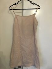 $100 Beige nude white pink mini linen singlet cami dress 1 6 XS silk sir label