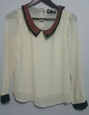 BNWT Sugarhill Boutique chiffon cream blouse with heart collar size XS from ASOS