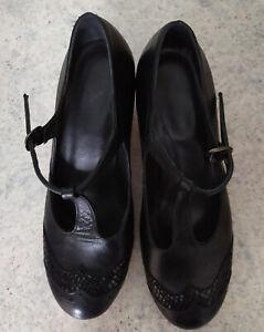 ABRA Damen Flamenco Schuhe, schwarz, Gr. 8 / 39, Leder, neu im Karton