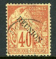 French Colony 1891 Reunion 40¢ Overprint SG # 26A VFU R875