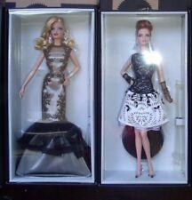 Lot of 2 Platinum 2015 Classic Evening Gown Barbie Black &White & Fan Club BCR07