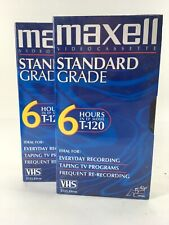 Sealed 2 Maxell Standard Grade T 120 Blank VHS Tapes 2 to 6 Hours Brand New USA
