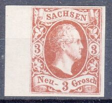 Saxony, Sc#8, VF NG, 3 Ngr Brown/White Margin Color Proof, Mi#6P1, *RARE*
