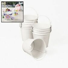 WHITE TIN PAILS BUCKETS NEW (LOT OF 12) HUGE LOT Holidays,Crafts,Gifts,Favors