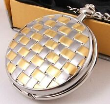 LOOOK! Gold & Silver Plated Pocket Watch 12Mth Wty KP7