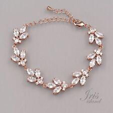ROSE GOLD Plated Clear Cubic Zirconia CZ Wedding Tennis Bracelet 7511 Adjustable