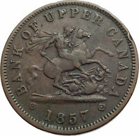 1857 UPPER CANADA Antique UK Queen Victoria Time PENNY BANK TOKEN Coin i74111
