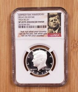 2014 S 50C Kennedy SILVER Enhanced Finish H.R. coin NGC SP69 PL Early Releases