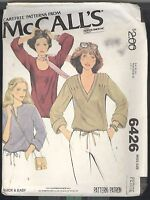 Pullover Knit Top Misses Size 6 8 McCall's Pattern 6426 Petite Uncut Tucks Cuffs