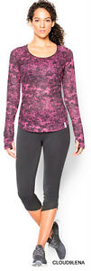 NWT UNDER ARMOUR Zip pocket Thumbholes Fly-By Printed Mesh Top 1265453 Size M