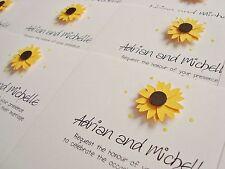 Set of 50 Personalised Handmade Sunflower Wedding Invitations