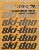 1978 SKI-DOO EVEREST SNOWMOBILE PARTS MANUAL 480 1073 00 (589)