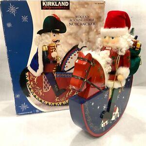 "18"" Kirkland Wooden Santa Nutcracker Large Santa on Rocking Horse Costco Wood"