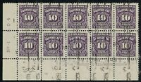 Canada J20 - 1953 Postage Due LL Plate #1 block of 10. FULL OG, VF-NH