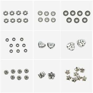 50pcs/lot Antique Zinc Alloy Beads Silver Crimp End Bead Jewelry Making Supplies