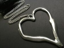Large Statement abstract metal heart pendant on long Chain necklace Lagenlook