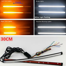 White/Amber Dual Color 30cm Universal Flowing LED Knight Rider Light Strip Flash