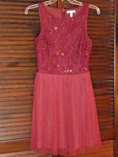 SPEECHLESS Burgundy Red Sleeveless Dress Sequin Bodice, Short Layer Skirt, 5 NWT