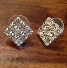 Unbranded Rhinestone Glass Silver Plated Costume Earrings