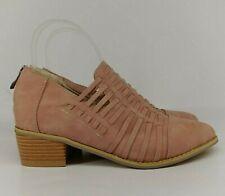 Ladies Ankle Boot UK 3 Dusty Pink Faux Suede Stacked Heel Zip Lattice Casual