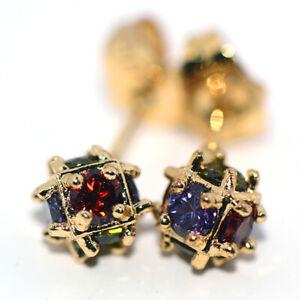 Rainbow Magic-Ball Beaded Stud Earrings Gold Earings Jewelry for Womens Girls