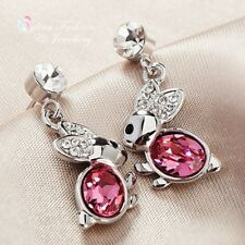 18K White Gold Plated Made With Swarovski Crystal Lovely Pink Bunny Earrings