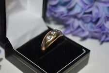 9ct Yellow Gold 3 Stone Gents Cubic Zirconia Ring