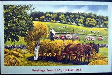 JAY Oklahoma ~ 1940's FARMERS LOADING HAY ~ Horse Pulled Wagon ~ GREETINGS !