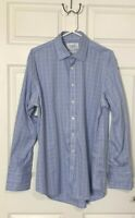 Charles Tyrwhitt Non Iron Men's Dress Shirt Plaid Blue White Yellow 16 1/2-34