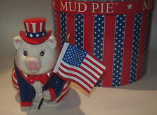 Mud Pie The Patriot Piggy Pig Bank 2001 w/Original Round Box Uncle Sam Flag