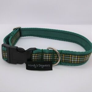 Irish National green tartan dog collar or collar and lead set
