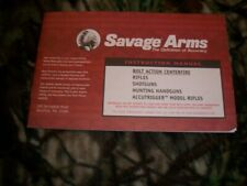 Savage Arms Bolt Action Rifle Center Fire Owners Manual