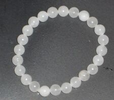 Natural White Jade Bracelet 8*8mm stretch and comfy just for you!!