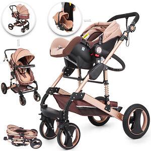 Baby Stroller Cart 3 in 1 Pram Foldable Pushchair High View Bassinet Reclining