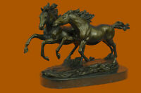 Horse Lovers Real Bronze Horses Dual Bust Sculpture Statue Equestrian Decor DEAL