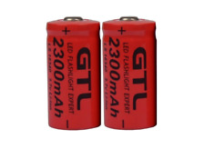 2 X GTL 3.7V CR123A 16340 2300mAh Red Rechargeable Camera Li-ion Lithium Battery