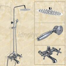 Wall Mounted Chrome Brass Bathroom Rain Shower Faucet Set W/Tub Mixer Tap Kcy325