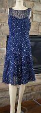 Teri Jon Pleated Silk Chiffon Polka Dot Dress (Size 10)