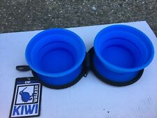 New Blue Collapsible Silicon Portable Dual Pet Dog Travel Bowl Kiwi Walker