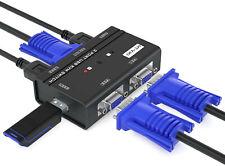 MT-VIKI USB VGA KVM Switch 2 Ports w/Cables & 3 USB Hubs, 260KL 1080P