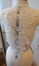 large piece ivory floral beaded lace applique bridal wedding bolero lace motif