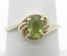 Green Peridot Ring~Genuine~Natural~4X6MM Oval Shape~Size 7 1/2~14K Yellow Gold
