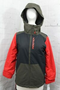 Volcom Vernon Insulated Snowboard Jacket, Youth Medium (10Y), Black Military New