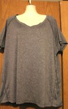 Spalding Woman 100% Polyester Heather Gray Scoop Neck SS Shirt Top Plus 1X